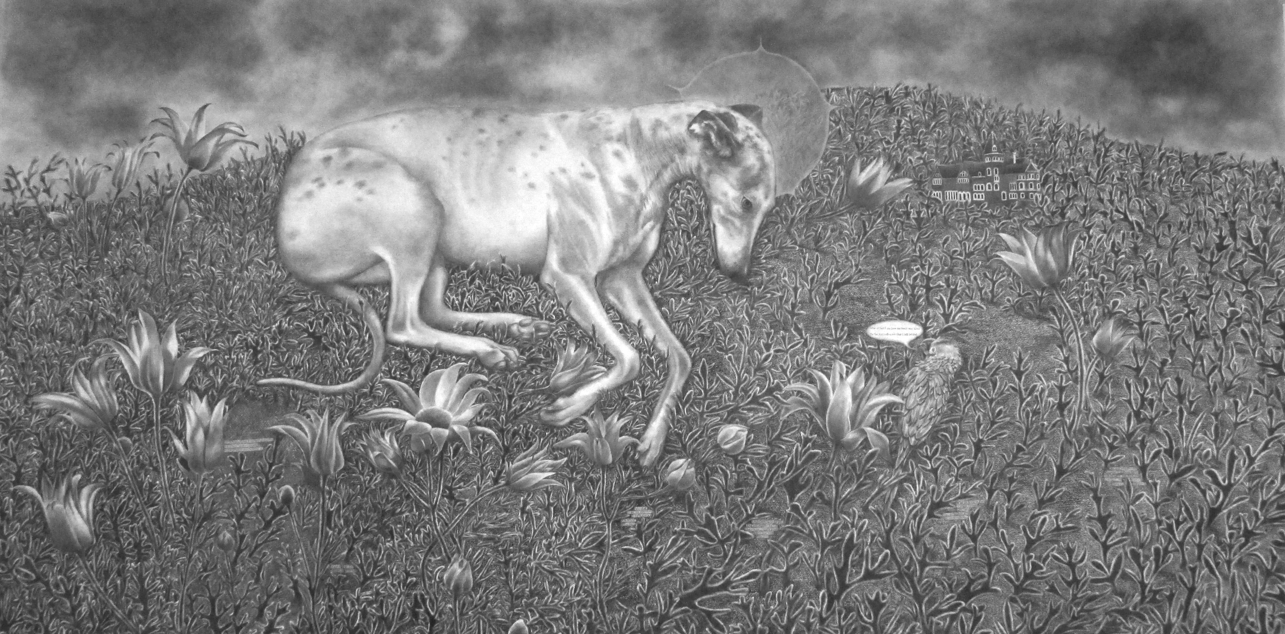 2014 - Respite for Saint Brigid of Kildare - Literacy Aide - (New Work of Dogs series) - graphite and charcoal on gessoed paper - 2014